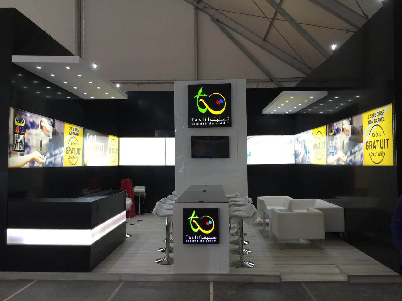 Stand d 39 exposition visualcom enseigne signal tique for Menuiserie stand exposition